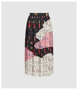Reiss Olga - Bold Floral Pleated Midi Skirt in Multi, Womens, Size 14