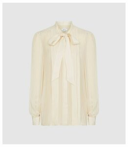 Reiss Nessa - Sheer Striped Blouse in Cream, Womens, Size 14