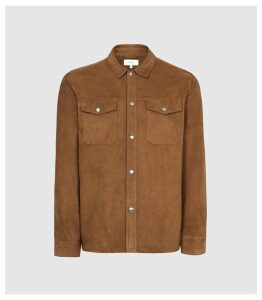 Reiss Mick - Suede Overshirt in Tobacco, Mens, Size XXL