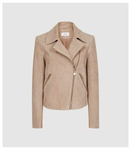 Reiss Sabine - Suede Jacket in Neutral, Womens, Size 14