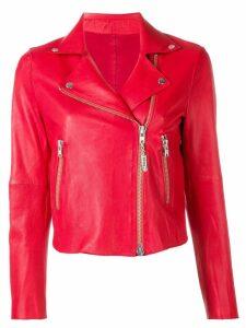 S.W.O.R.D 6.6.44 cropped style biker jacket - Red