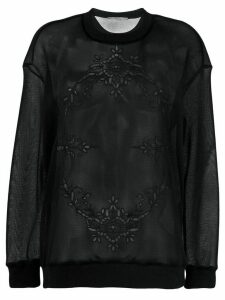 Stella McCartney sheer embroidered sweatshirt - Black