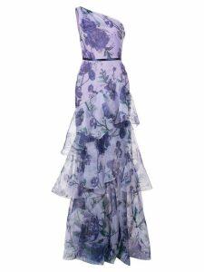 Marchesa Notte floral print one-shoulder gown - Purple