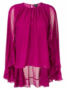 Giambattista Valli cape style ruffle blouse - Purple