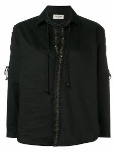 Saint Laurent embroidered lace-up blouse - Black