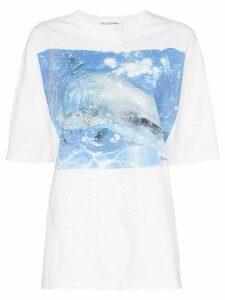Filles A Papa Dolphin print cotton T-shirt - White