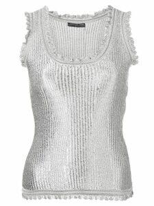 Alexander McQueen ribbed design vest top - SILVER