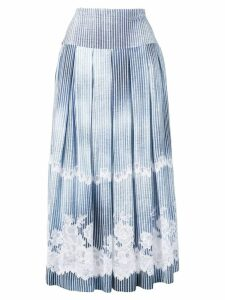 Ermanno Scervino striped midi skirt with embroidered details - Blue