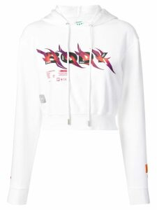 Heron Preston Body print cropped hoodie - White