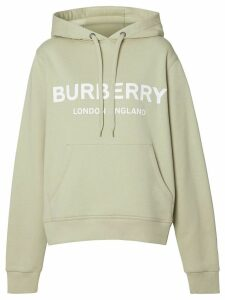 Burberry Logo Print Cotton Hoodie - Grey
