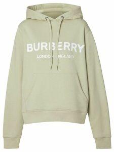 Burberry Logo Print Cotton Hoodie - Grey