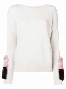 N.Peal patch detail cashmere jumper - Neutrals