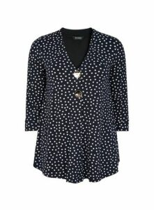 Navy Blue Spot Print Top, Navy