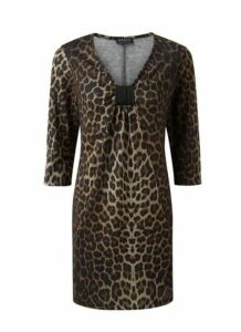 **Grace Brown Animal Print Tunic Top, Brown
