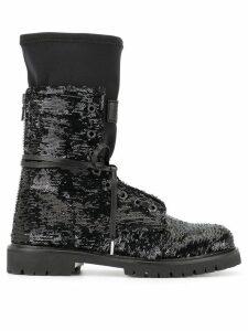 RtA sequins lace-up boots - Black