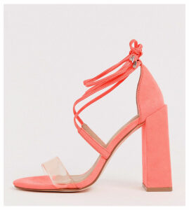 ASOS DESIGN Wide Fit Hadley barely there block heeled sandals in neon pink