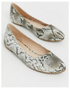 Truffle Collection easy ballet flats in snake-Grey