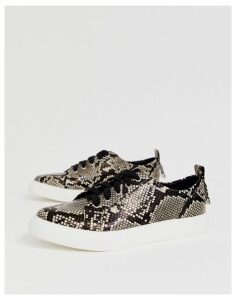 ASOS DESIGN Durban pointed lace up trainers in snake print-Multi