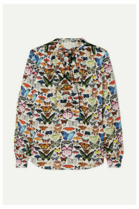 Mary Katrantzou - Federika Pussy-bow Printed Satin Blouse - Green