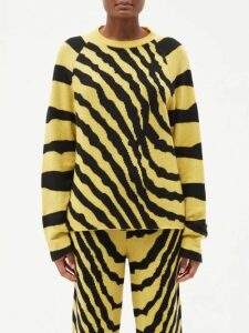 Isa Arfen - Flocked Polka Dot Wool Cardigan - Womens - Blue Multi
