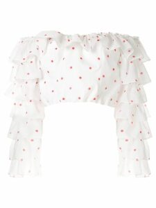 Bambah polka ruffle cropped blouse - White