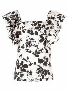 Bambah floral ruffle top - White