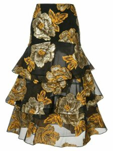 Bambah embroidered roses ruffle skirt - Black
