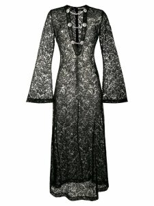 Alessandra Rich embroidered lace long dress - Black
