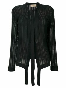Maison Flaneur tie neck knitted cardigan - Black