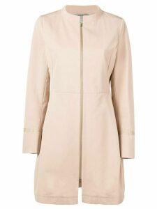 Herno structured front zip coat - NEUTRALS