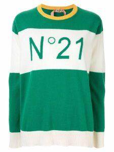 Nº21 contrast panels logo jumper - Green