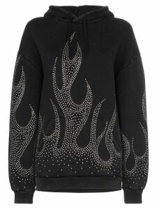 Filles A Papa crystal-embellished flame motif cotton hoodie - Black