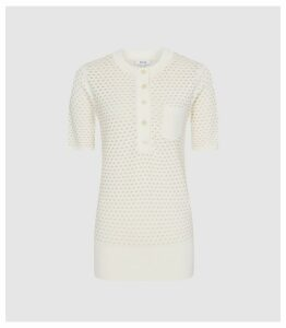 Reiss Coleen - Pointelle Knitted Top in Neutral, Womens, Size XXL