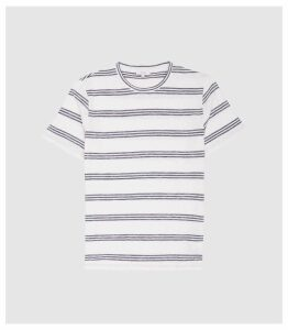 Reiss Felton - Striped Crew Neck T-shirt in White/blue, Mens, Size XXL