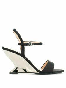 Prada metallic heel sandals - Black