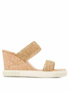 Casadei slip-on wedge sandals - NEUTRALS
