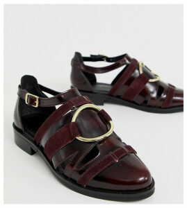 ASOS DESIGN Wide Fit Villa premium leather flat shoes in burgundy-Red