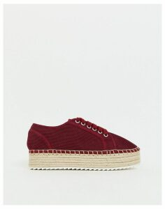 ASOS DESIGN Jakie lace up espadrille trainers-Red
