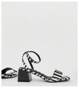 ASOS DESIGN Wide Fit Honeywell block heeled sandals in zebra