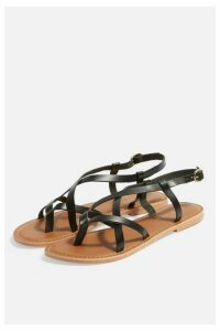 Womens **Wide Fit Hazy Flat Sandals - Black, Black