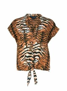 Womens Brown Tiger Print Tie Hem Shirt, Brown