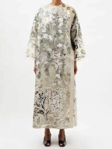 Molly Goddard - Sydney Ruffle-trimmed Smocked Cotton Top - Womens - Brown