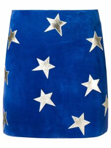 Saint Laurent star patches mini skirt - Blue