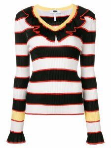 MSGM striped ruffle trim sweater - Black