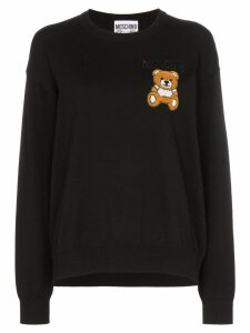 Moschino teddy embroidered long-sleeved knitted cotton T-shirt - Black