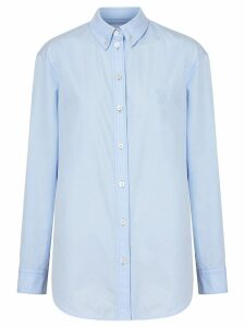 Burberry Button-down Collar Monogram Motif Cotton Shirt - Blue