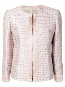 Giorgio Armani geometric jacquard jacket - PINK