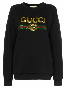 Gucci black sequin-embellished cotton sweatshirt
