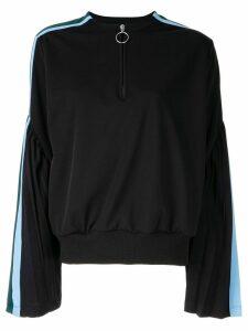 Facetasm flared sleeved henley sweatshirt - Black