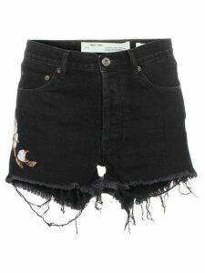 Off-White logo-pocket floral-embroidered denim shorts - Black